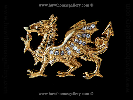 Welsh Dragon Diamante Brooch (Gold finish)
