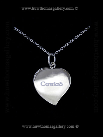 Silver Heart Shaped Pendant / Necklace with the word Cariad