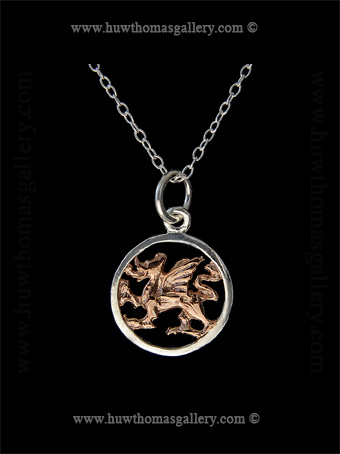 Silver Welsh Dragon Pendant with Rose Gold ( Round )