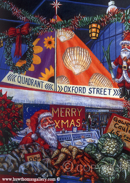Christmas Shopping - Swansea Market - Welsh Christmas Card