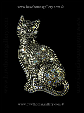 Cat Costume Brooch set with aurora diamante stones