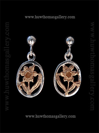Silver & Rose Gold Daffodil Earrings