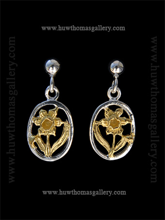 Silver & Gold Daffodil Earrings
