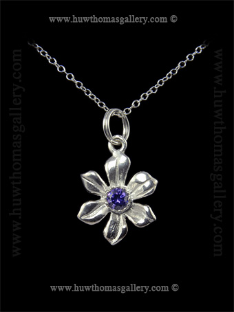 Silver Daffodil Pendant set with Amethyst Diamante Stone