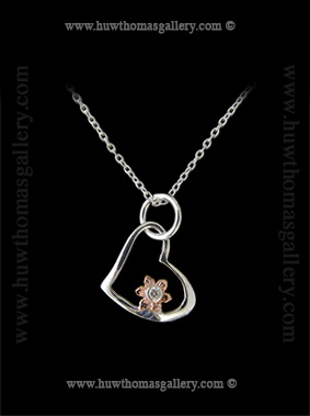Heart Shaped Silver & Rose Gold Daffodil Pendant
