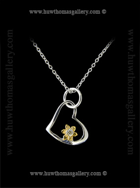 Heart Shaped Silver & Gold Daffodil Pendant
