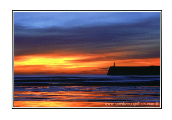 Porthcawl sunset at Coney Beach - Greeting Card