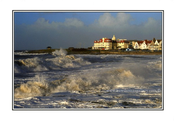 Porthcawl Seafront with Seabank Hotel - Greeting Card