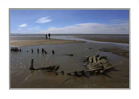 Old wreck at Sker Beach in Porthcawl