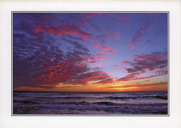 Sunset at Pink Bay Porthcawl - Greeting Card