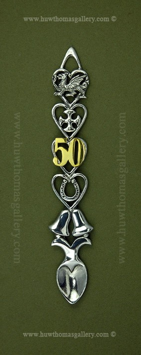 50th Wedding Anniversary Pewter Lovespoon (Bells) ( S 6 inch )