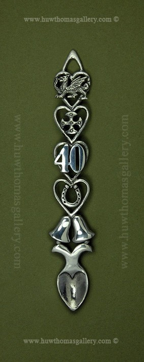 40th Wedding Anniversary Pewter Lovespoon (Bells)
