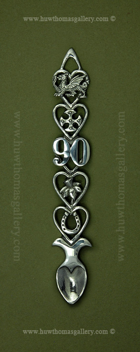 90th Birthday Pewter Lovespoon ( S 6 inch )