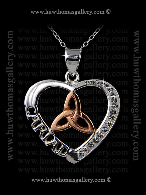 Silver Heart Shaped Cariad Pendant with Rose Gold & Diamante