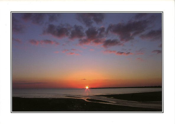 Sunset at Ogmore towards Porthcawl - Birthday Card