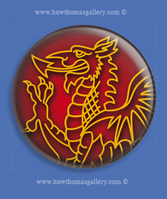 Welsh Dragon Fridge Magnet on Red