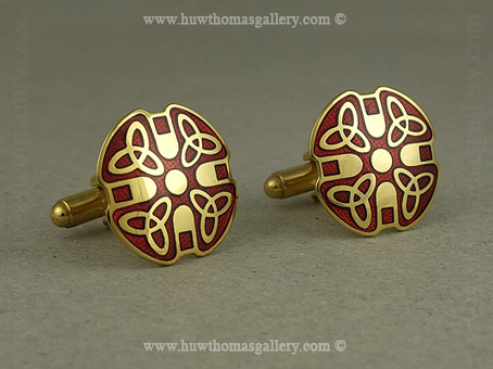 Celtic Cufflinks with Red Enamel and Gold Finish