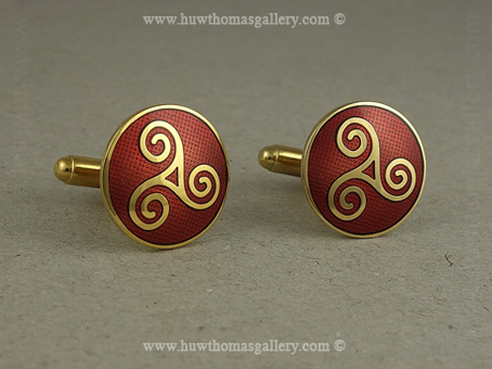 Round Celtic Cufflinks with Red Enamel and Gold Finish