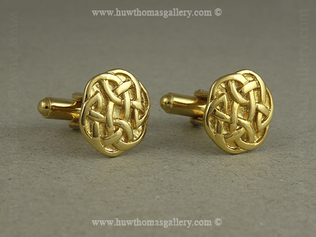 Celtic Cufflinks with Celtic knotwork Design in Gold Finish