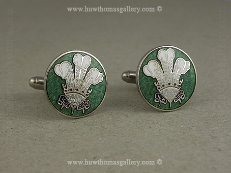 Three Feather Welsh Cufflink in Green and Silver Finish