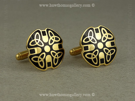 Celtic Cufflinks with Black Enamel and Gold Finish