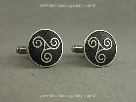 Round Celtic Cufflinks with Grey Enamel and Sliver Finish