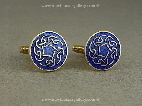 Celtic Knotwork Cufflinks with Blue Enamel and Gold Finish