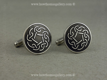 Celtic Knotwork Cufflinks with Grey Enamel and Silver Finish