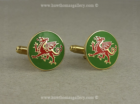 Welsh Dragon Cufflinks green enamel background (Gold Finish)