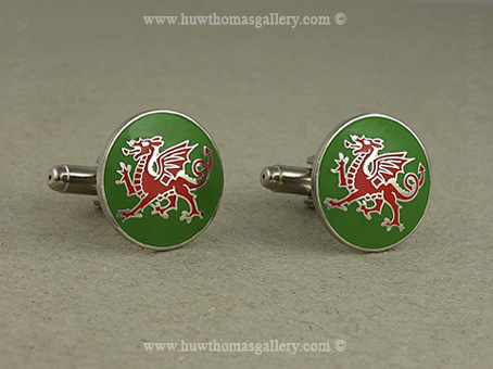 Welsh Dragon Cufflinks green enamel background (Silver Finish)