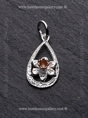 Silver Loop Daffodil Pendant with Rose Gold Centre