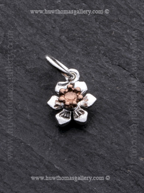 RG Silver Daffodil Flower Pendant / Necklace Rose Gold