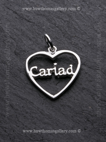 Silver Cariad Heart Shaped Pendant / Necklace