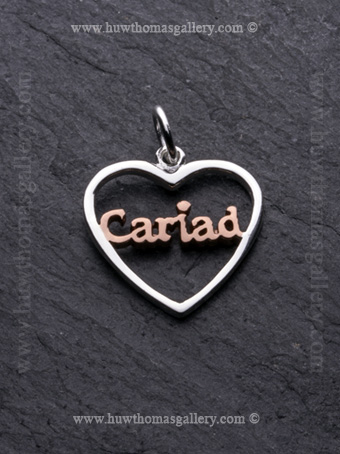 Cariad Silver Pendant / Necklace Rose Gold ( Heart Shaped )