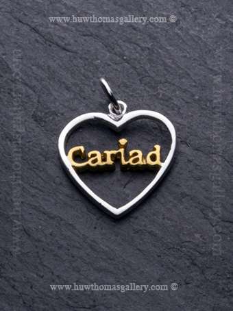 Cariad Silver Pendant / Necklace Gold ( Heart Shaped )
