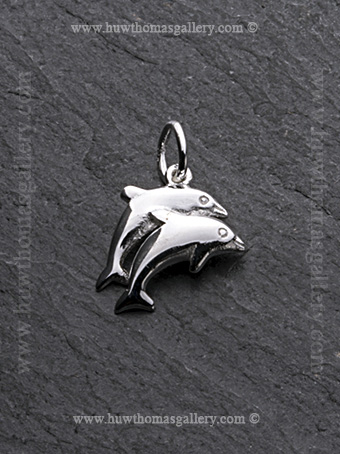 Silver Double Dolphin Pendant / Necklace - Facing Right
