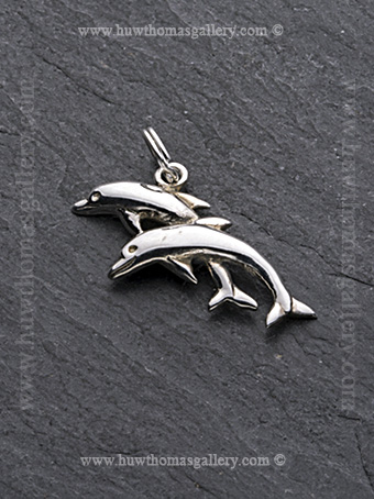 Silver Double Dolphin Pendant / Necklace - Facing Left