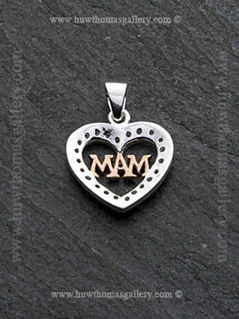 Silver & Rose Gold Heart Shaped Mam Pendant / Necklace