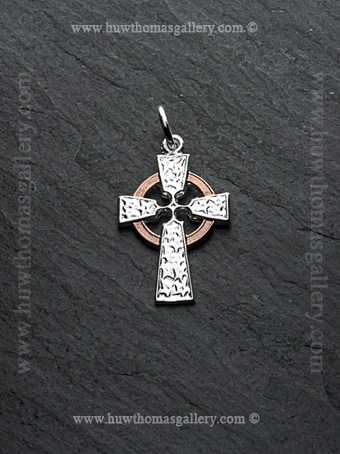 Silver & Rose Gold Celtic Cross Pendant /Necklace