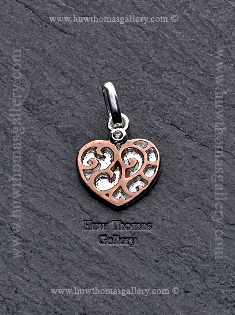 Silver & Rose Heart Shaped Gold Pendant / Necklace