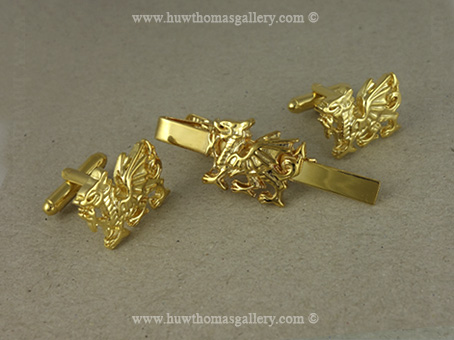 Set of Welsh Dragon Cufflinks & Tie Slide (Gold Finish)