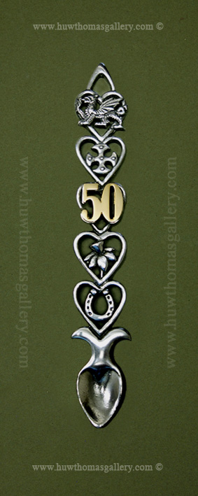 50th Wedding Anniversary Pewter Lovespoon (AB) ( S 6 inch )