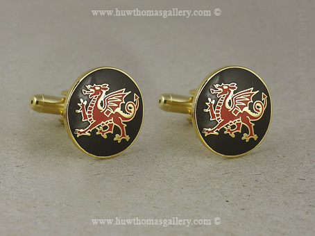 Welsh Dragon Cufflinks Black enamel background (Gold Finish)