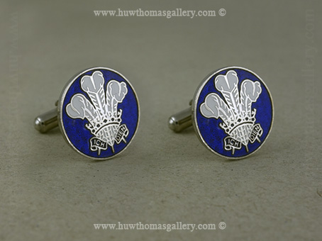 Three Feather Welsh Cufflink in Blue and Silver Finish