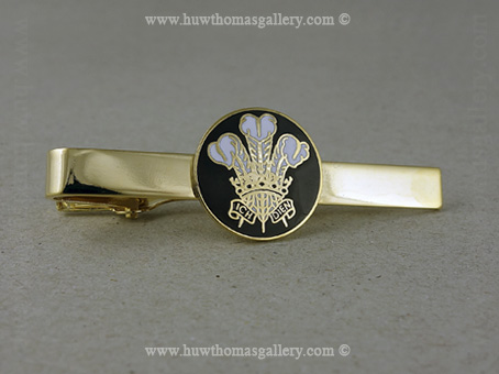 Three Feather Tie Slide in Black and Gold Finish