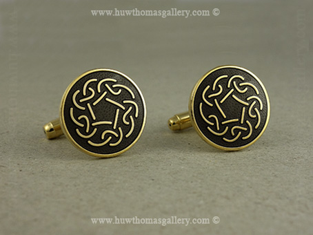Celtic Knotwork Cufflinks with Black Enamel and Gold Finish