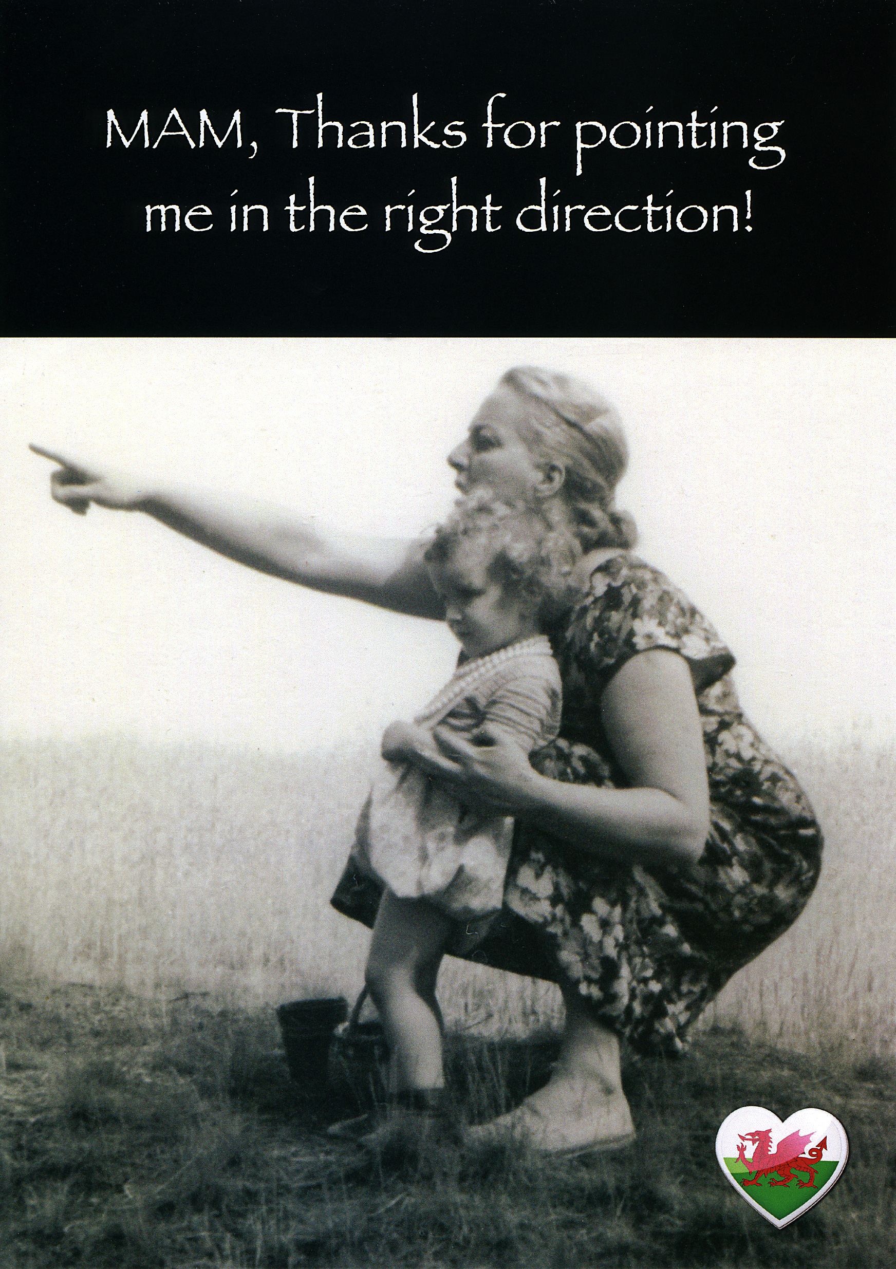 Mother's Day - right direction - Welsh Greeting Card