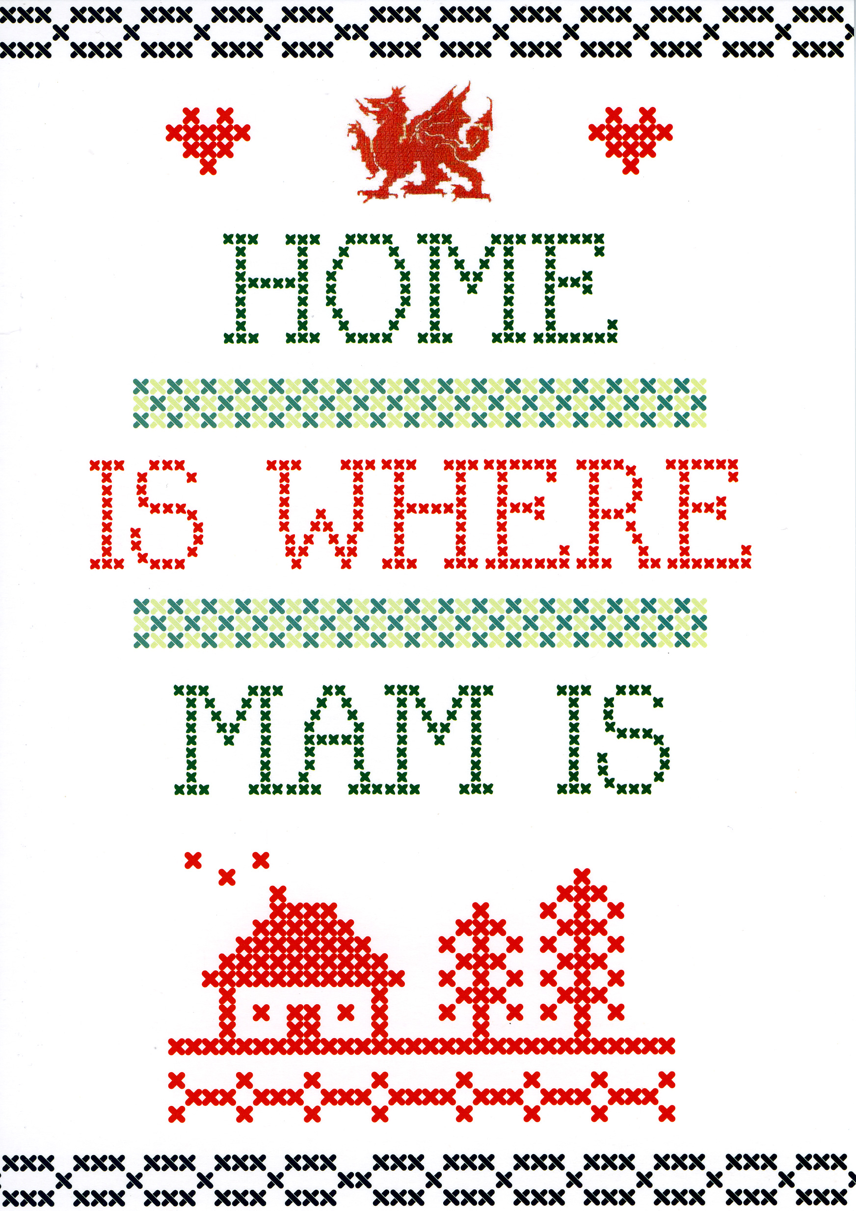 Mother's Day - HOME IS WHERE MAM IS - Welsh Greeting Card