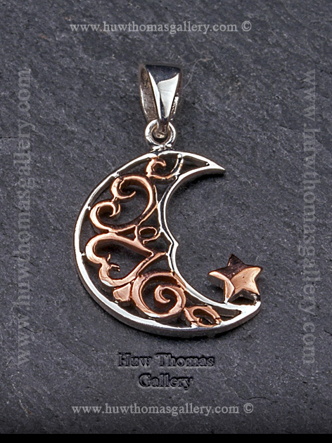 Silver & Rose Gold Moon Pendant / Necklace