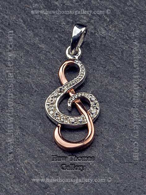 Silver & Rose Gold Treble Clef Pendant / Necklace
